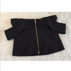 Express Tops - Express Cold Shoulder Black Zip Crop Top Shirt 8